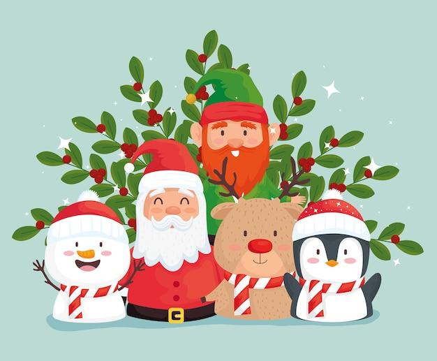 Feliz natal papai noel e desenho de ilustração do grupo de personagens