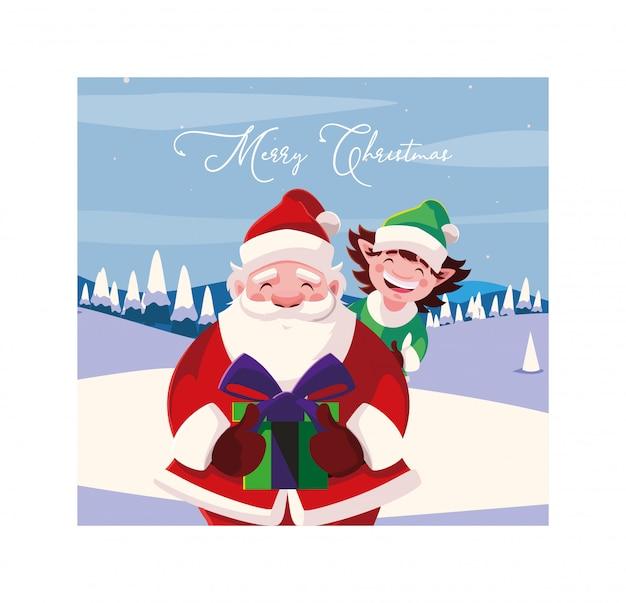 Feliz natal papai noel e elfo