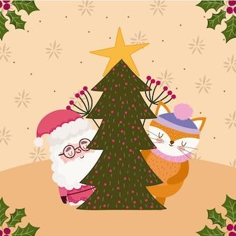 Feliz natal, papai noel e raposa com árvore decorativa
