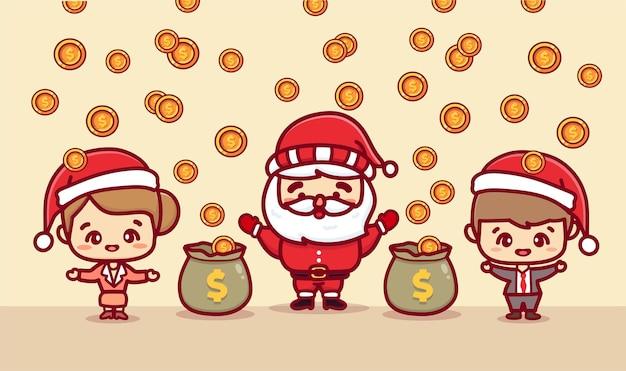 Feliz natal papai noel e trabalhador de escritório ganhando dinheiro. banner de desenho vetorial