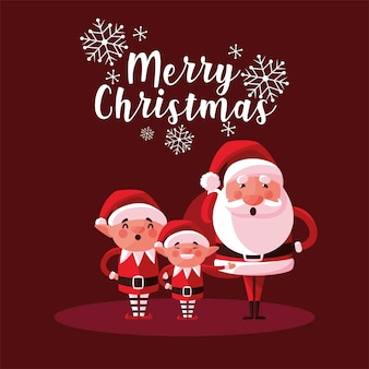 Feliz natal, papai noel fofo e personagens ajudantes, ilustração do cartão