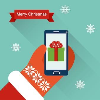 Feliz natal, papai noel, mãos segurando um cartão de smartphone ilustração em vetor plana de presente de ano novo