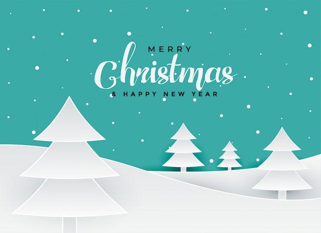 Feliz natal papercut estilo fundo de paisagem de árvore