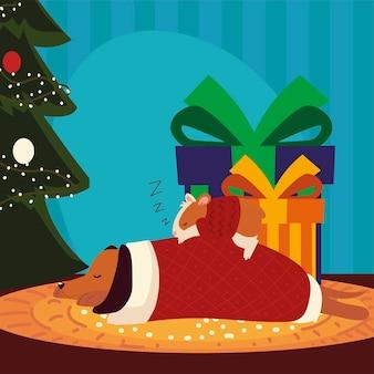 Feliz natal para cachorro e hamster com suéter dormindo ao lado da árvore e ilustração dos presentes