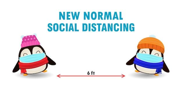 Feliz natal para o novo conceito de estilo de vida normal e distanciamento social, fofo de pinguim