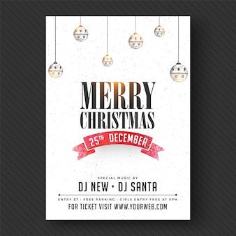 Feliz natal partido banner ou flyer design.