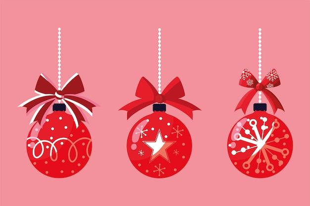 Feliz natal pendurado bolas vermelhas decoratin ornament ilustração