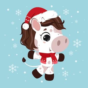 Feliz natal! personagem engraçada de vaca em fundo azul nevado. cartão em estilo cartoon. ilustração.