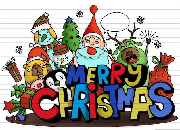 Feliz natal! personagem fofa de natal e alfabeto fofo