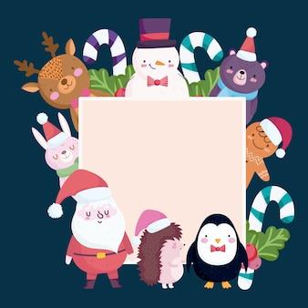 Feliz natal, personagens fofinhos, animais, bastões de doces e moldura de azevinho