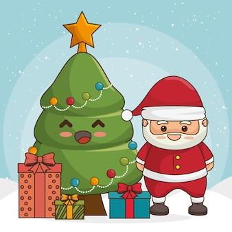Feliz natal personagens kawaii estilo vector illustration design