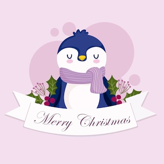 Feliz natal, pinguim fofinho animal fita holly berry cartão ilustração
