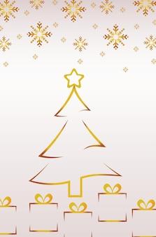 Feliz natal, pinheiro dourado e presentes com ilustração de flocos de neve