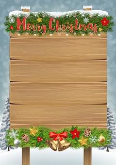 Feliz natal placa de madeira sinal