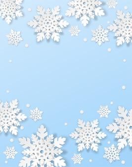 Feliz natal, plano de fundo do inverno. desenha com flocos de neve de estilo de papel art sobre fundo azul.