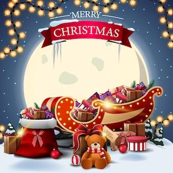 Feliz natal postal quadrado com paisagem de inverno