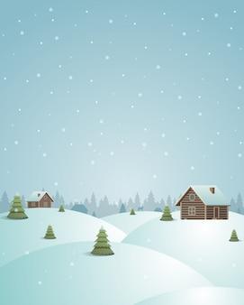 Feliz natal postal vintage vila e floresta ilustração
