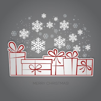 Feliz natal presente cartão de saudação.