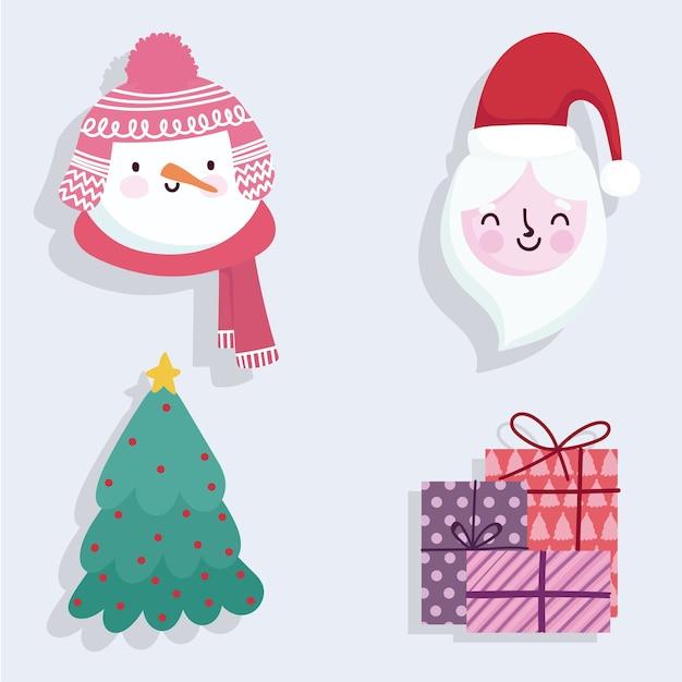 Feliz natal, presentes bonitos do boneco de neve do papai noel e ícones de árvores