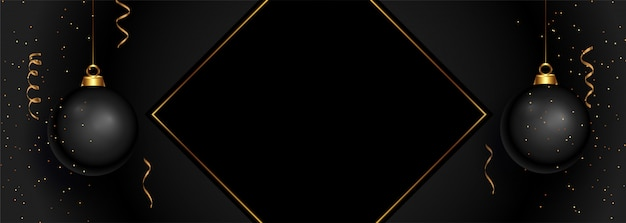 Feliz natal preto banner com espaço de texto