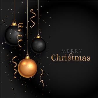 Feliz natal preto cartão com bolas decorativas realistas