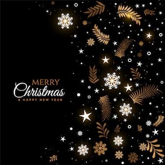 Feliz natal preto e dourado decorativo