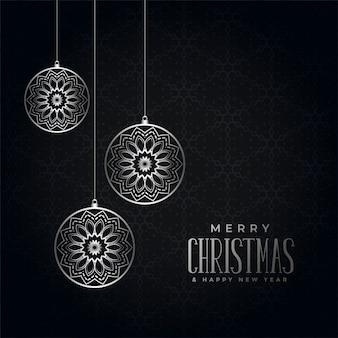 Feliz natal preto e prata festival saudação