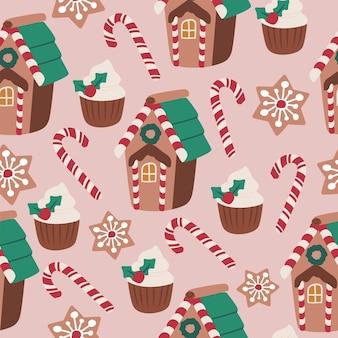 Feliz natal queque de bastão de doces de gengibre