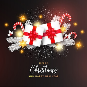 Feliz natal realista e feliz ano novo cartão com modelo moderno de desing