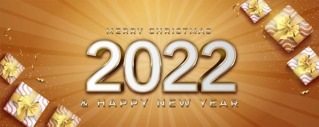 Feliz natal realista e feliz ano novo com design dourado e elemento de decoração de natal