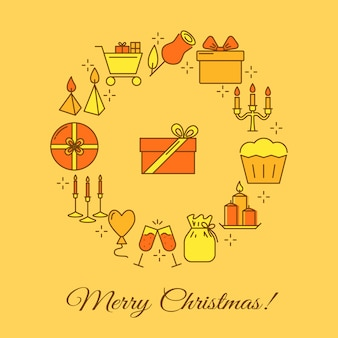 Feliz natal redondo banner no estilo de linha