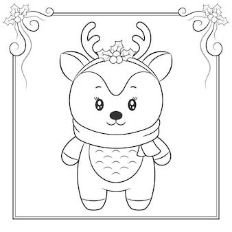 Feliz natal rena bonita com lenço desenhando esboço para colorir