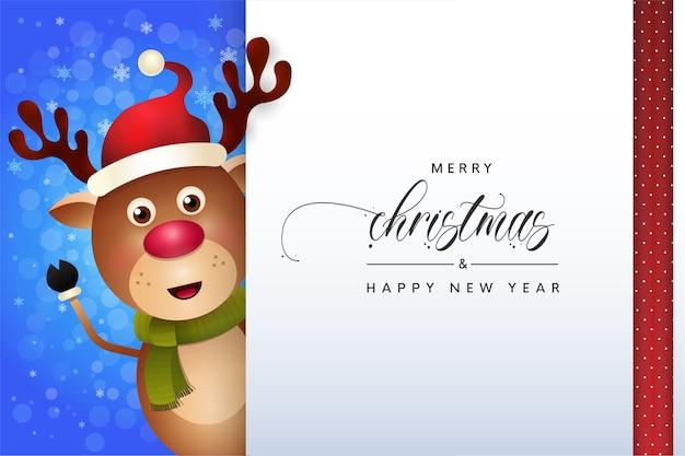 Feliz natal rena fofa saudação cartão de inverno Vetor Premium