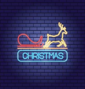 Feliz natal renas e carruagem com luzes de néon