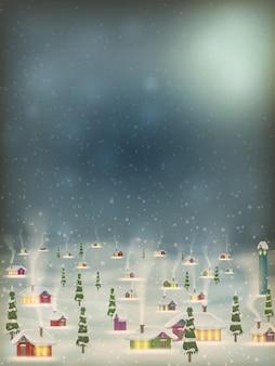Feliz natal retrô postal vila.