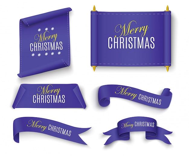 Feliz natal rolar. banners de papel realista.