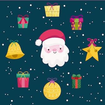 Feliz natal, santa estrela presente bolas decoração ornamento temporada ícones ilustração