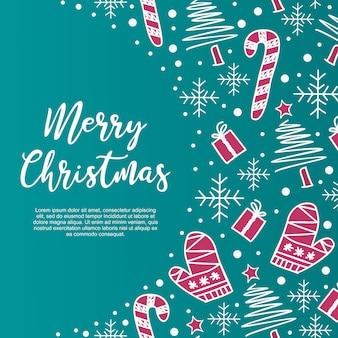 Feliz natal saudação design com decoração de doodle