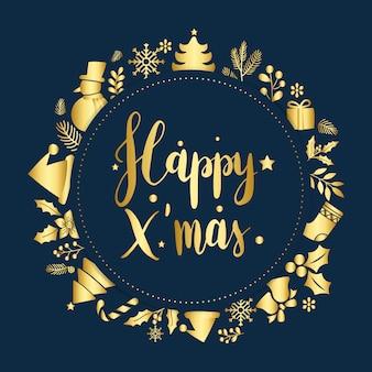 Feliz natal saudação emblema vector