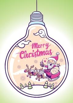 Feliz natal saudação na ilustração do bulbo