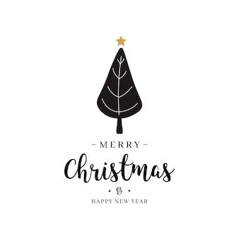 Feliz natal, saudação texto árvore ouro isolado fundo