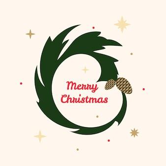 Feliz natal saudação texto ramo grinalda círculo fundo galho de árvore de natal