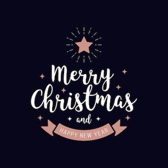 Feliz natal saudação texto rosegold fundo azul