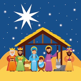 Feliz natal saudações com jesus nascido na manjedoura joseph e mary rei sábio