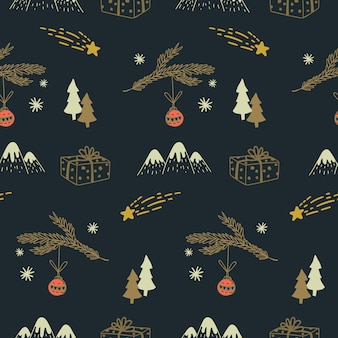 Feliz natal sem costura doodle padrão