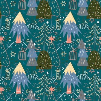 Feliz natal sem costura padrão com árvores minimalistas simples em um fundo escuro floresta doodle