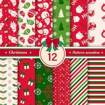 Feliz natal sem costura padrão de coleção.