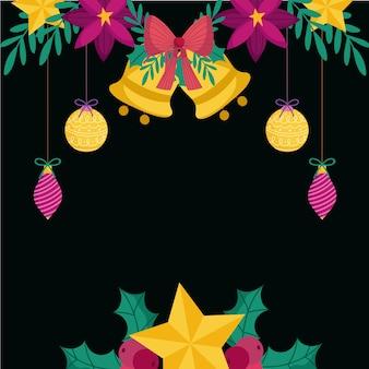 Feliz natal, sinos dourados, estrelas, bolas, flores, folhas, decoração