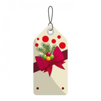 Feliz natal tag pendurado com bown e bolas