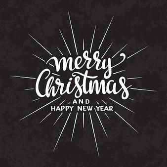 Feliz natal texto caligráfico lettering modelo de cartão de design.
